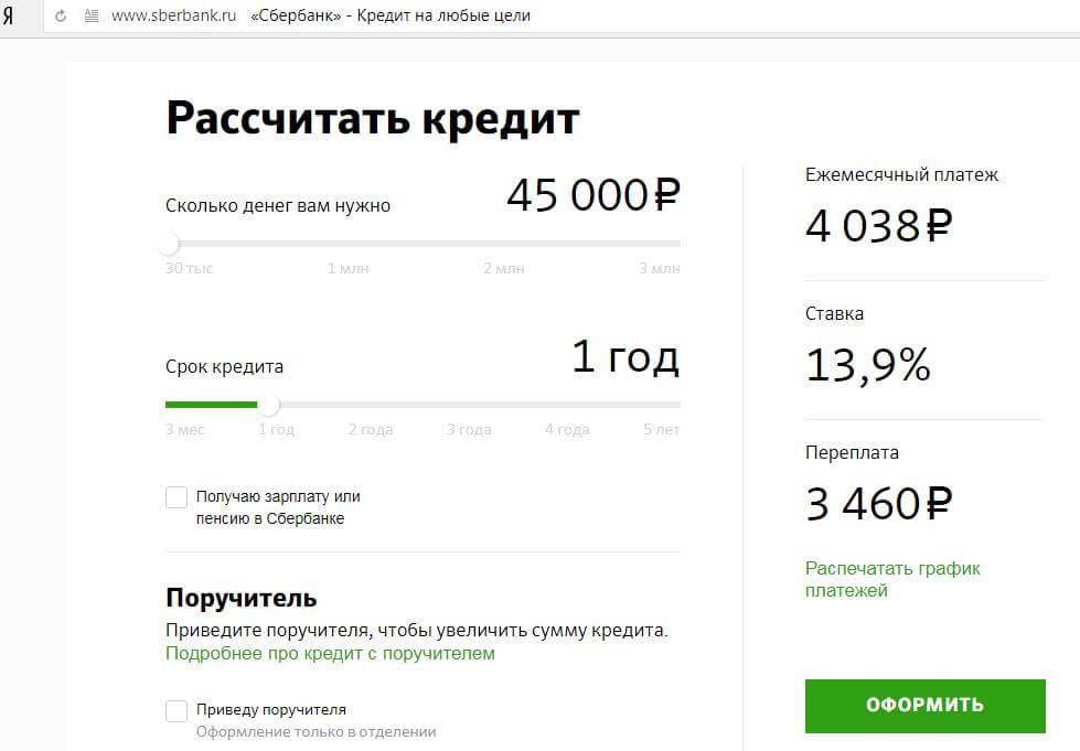 Онлайн калькулятор Сбербанка