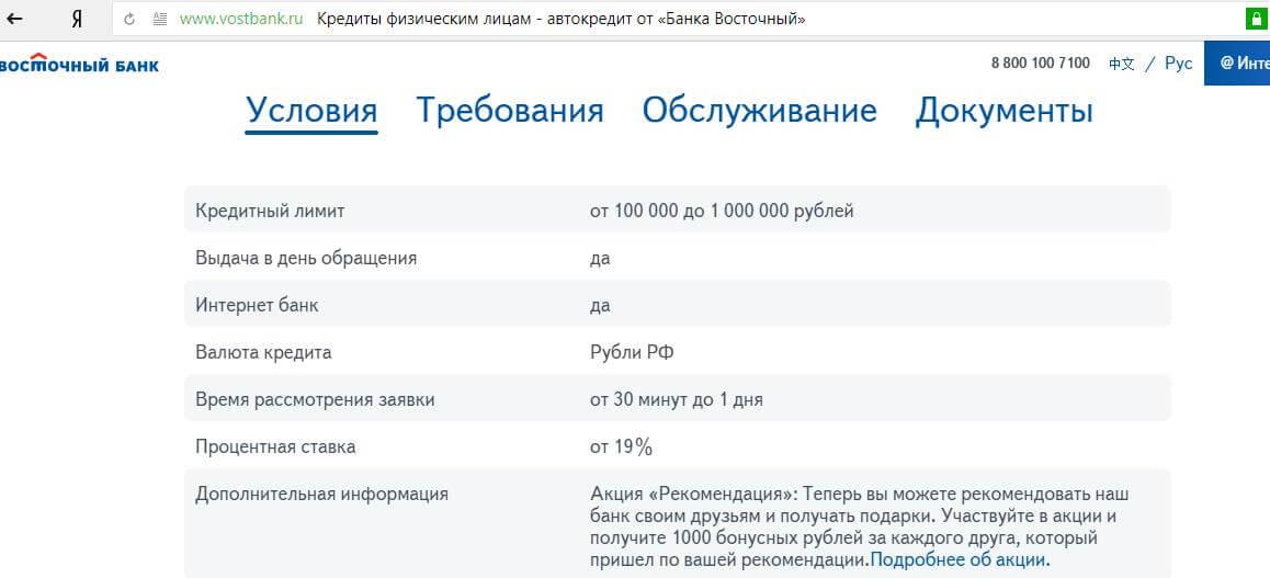 Требования банка «Восточный» на мотокредит