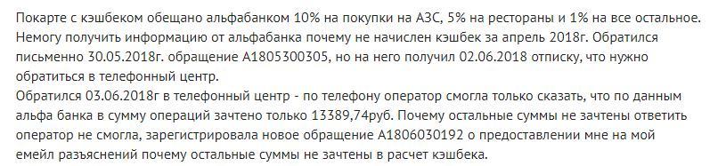 Отсутствие зачисления кэшбека в Альфа-Банке