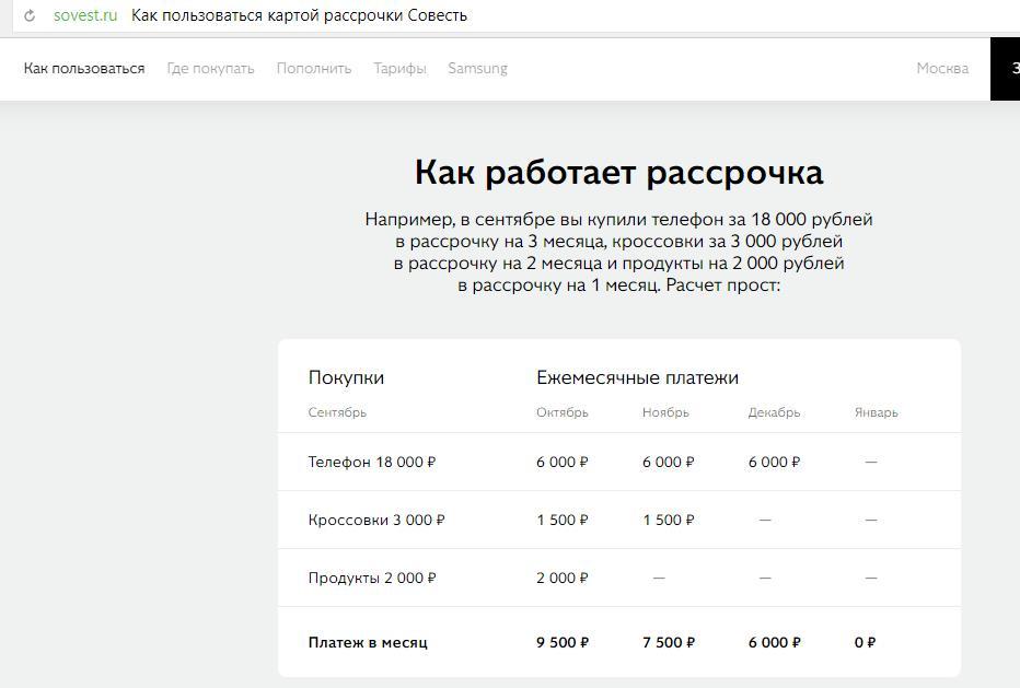 Пример как работает рассрочка карты Киви банка