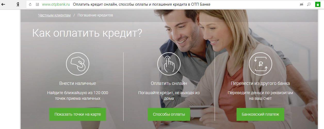 Варианты погашения кредита в Банке ОТП