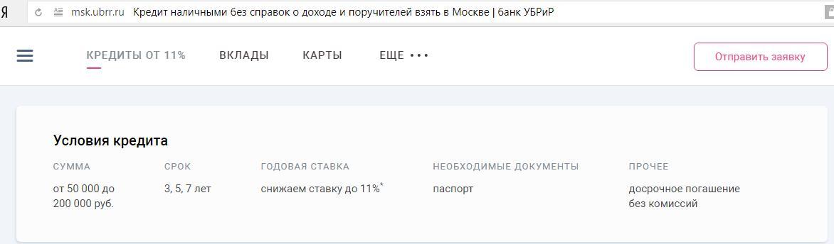 условия кредитования на суммы до 200 000 рублей в УБРиР