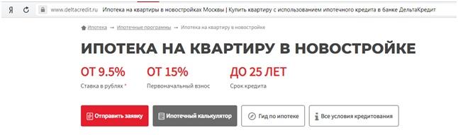 Оформление через Дельтакредит Банк