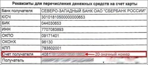 Лицевой счет карты Сбербанка